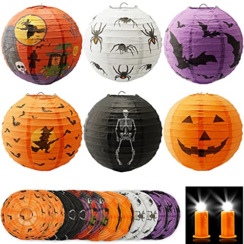 MAISITOO 12 Piezas Lámparas de Linternas de Papel de Halloween, Linterna de Halloween Plegables con 12 Luces, Esqueleto Calabaza Bruja Araña Murciélago Linternas para Decoración de Halloween