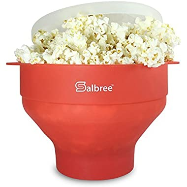 The Original Salbree Microwave Popcorn Popper with Lid, Silicone Popcorn Maker, Collapsible Bowl BPA Free - 14 Colors Available (Red)