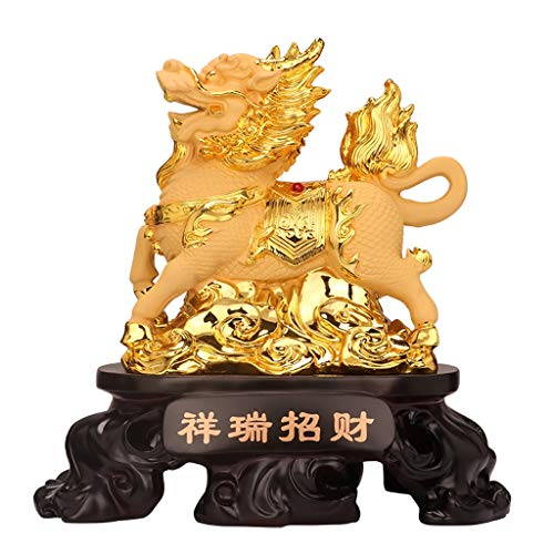 SHUTING2020 Estatuas de Feng Shui Feng Shui Chi Lin/Kylin Riqueza Prosperidad Estatua decoración del hogar atraer abundancia y Buena Suerte Estatua de Riqueza