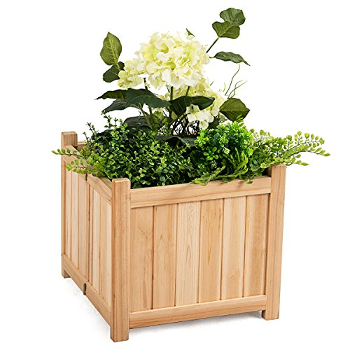 """Giantex Raised Garden Bed, Wood Planter for Vegetable Flower, Outdoor Elevated Planting Boxes, Folding Plant Container Patio Lawn Garden Backyard, Easy Assembly, 15"""" Lx15 Wx14 H (Natural)"""