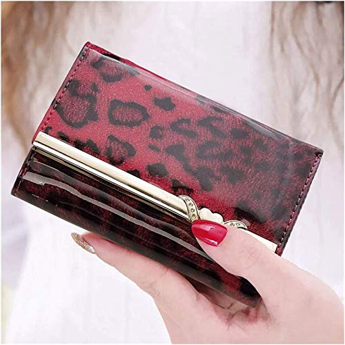 ZHANG Leopard Print Bright Leather Wallets For Women, Folding Small Wallet For Mom, Creative Gift For Girlfriend, Gift Box,B