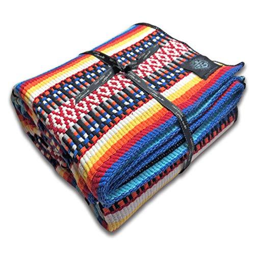 Craft Story Decke Carlota I blau-grau-schwarz-orange-gelb-weiß gestreift aus 100% Baumwolle I Tagesdecke I Sofa-Decke I Couch-Überwurf I Bedspread I Plaid I 140 x 210cm