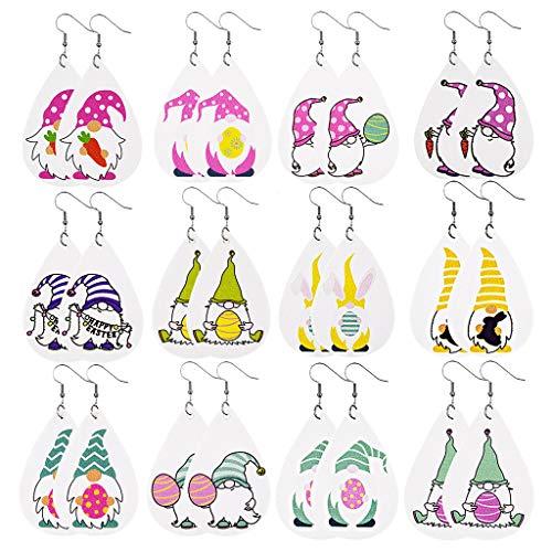 12 Paia Gnome Pasqua Orecchini in Ecopelle Gnomo Teardrop Ciondola Lorecchino Coniglio Uovo Di Pasqua Ciondola Stampa Gnomo Orecchini