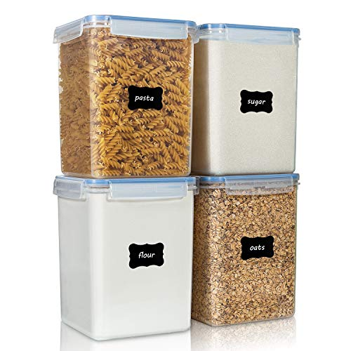 Large Food Storage Containers 5.2L / 176oz, Vtopmart 4 Pieces BPA Free Plastic Airtight Food Storage Containers for Flour, Sugar, Baking Supplies, with 4 Measuring Cups and 24 Labels, Blue