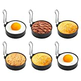 FTUNG - Anelli antiaderenti per uova in camicia, in acciaio INOX, 6 pezzi, mini pancakes Yorkshire budini adatti con manici pieghevoli per padella per uova in camicia, pentole, caldaia, 7,5 cm