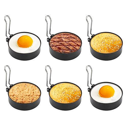 FTUNG Edelstahl Ei Ring 6er Spiegeleiform für Bratpfanne Ei Ringe Pfannkuchenform Rund Omelett Form Für Eier Kochen,7,5 * 2cm