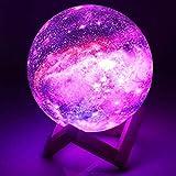 Lámpara de Luna 3D, 16 Colores RGB Luz Nocturna LED con 15cm de Diámetro Control Remoto y Control Táctil Luz Ambiente Decorativa para Dormitorio Salón Fiesta Regalo [Clase de eficiencia energética A]