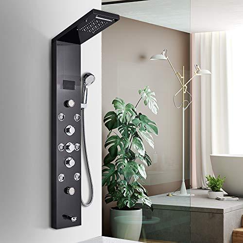 JUNSHENG Panel de Ducha Negra Moderna Acero Inoxidable Columna de Hidromasaje Para Baño Con LED Alcachofas + 5 Salida de Agua + LCD Pantalla de Temperatura