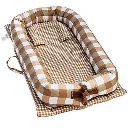 TONGJI Babynest knuffelnest babynestje multifunctioneel opvouwbaar bed draagbaar babybed reisbed 100% katoen zacht 0-24 maanden Kaffee-Plaid zoals getoond