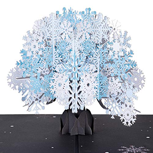 Paper Love Snow Tree Pop Up Card, Handmade 3D Popup Greeting Cards, For Winter, Christmas, New Year,...