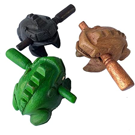 Percussion Instruments Wooden Frog 3 Pieces Set of 2.75 Inch Small Wood Carving Black Frog Musical Instrument, Products From Thailand, wooden frog musical instrument.