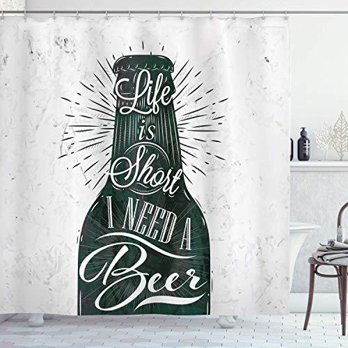 Colección Manly Decor, copa de vino en estilo retro vintage letras Life is Short I Need a Beer Pattern, cortina de ducha de tela de poliéster, 72 x 72 pulgadas, negro, blanco y gris