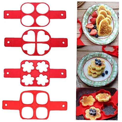 4 Trous Silicone Pancake Moule Friture Oeuf Anneau Makersquare Coeur Cercle Fleur Outils de Cuisine