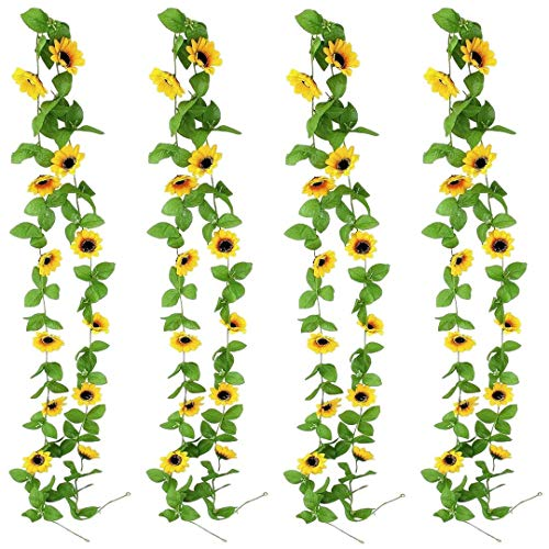 KATELER 4 Pack Artificial Sunflower Garland 7.9 FT Silk Sunflowers Vine with Green Leaves Hanging Sunflowers for Wedding Baby Shower Party Garden Decoration