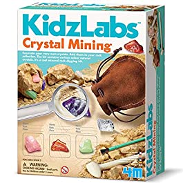 4M Kidzlabs Crystal Mining Kit – DIY Geology Science Dig Excavate Gemstones Minerals – STEM Toys Gift for Kids & Teens, Boys & Girls, Model:3564