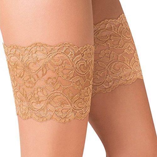 Gabriela Bandas elásticas para los muslos, antifricción, punta antichanclas, protector de muslos, color beige y negro, beige, Large