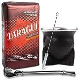 Juego de té mate: Yerba Mate Taragui Energia 0,5 kg, piel auténtica, palo, madera, mate, vaso torpedo (negro), calabaza, pajita mate de acero inoxidable, bombilla y cepillo de limpieza