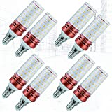 8-PC Ángulo de Haz de 360 ° E14 / E27 Bombillas LED Tipo maíz 20W Equivalente a Bombillas halógenas de 200W Sin Parpadeo, atenuación de Tres Colores