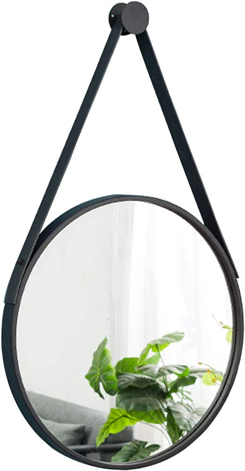 11.8-31.5inches Wall Hanging Decorative Mirror with Hanging Rope Retro Black Round Iron Frame Wall Mirror Bathroom Bedroom Dressing Hallway Mirror