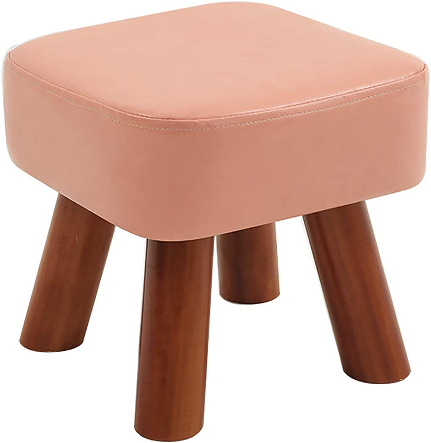 CAIJUN Footstool Comfortable Indoor Solid Wood Frame Multifunction Portable, 5 colors, 2 Sizes (color   Pink, Size   28x28x25cm)