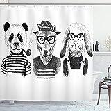 ABAKUHAUS Tier Duschvorhang, Hipster Panda Zigarre Fox, mit 12 Ringe Set Wasserdicht Stielvoll Modern Farbfest & Schimmel Resistent, 175x200 cm, Weiß Schwarz Grau
