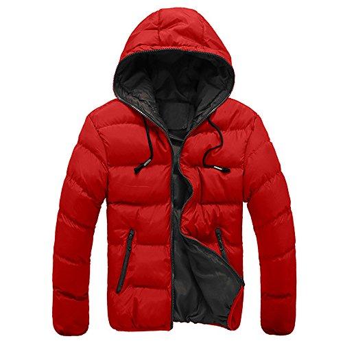 VEMOW Herren Slim Lässige warme Jacke Herbst Winter mit Kapuze dicken Mantel Parka Casual Sport Wandern Mantel Hoodie(Rot, 52 DE/XXL CN)