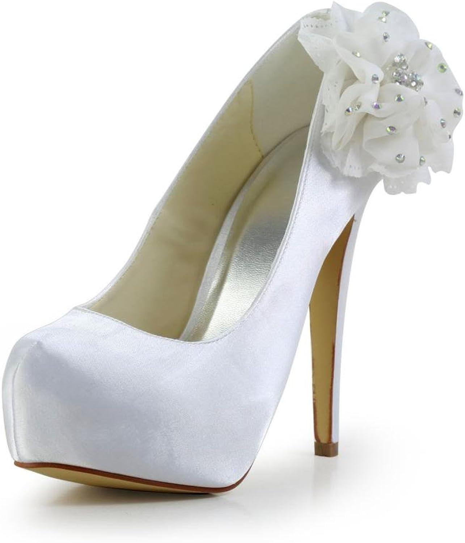 Jia Jia Women's Bridal 2018 Peep Toe Hight Heel Satin Wedding shoes