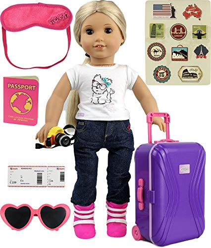 "Click N' Play 18"" Doll Travel Carry On Suitcase Luggage 7Piece Set with Travel Gear Accessories, Perfect for 18' American Girl Dolls"