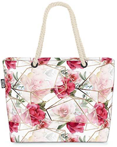 VOID Rosen Gewächshaus Design Strandtasche Shopper 58x38x16cm 23L XXL Einkaufstasche Tasche Reisetasche Beach Bag