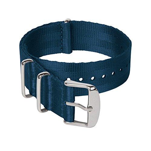 Archer Watch Straps - Sicherheitsgurt Stil Gewebtes Nylon NATO Uhrenarmband - Navy Blau/Edelstahl Hardware, 20mm