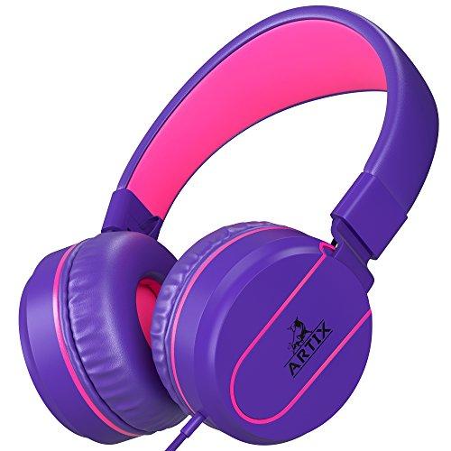 Artix Kopfhörer mit Mikrofon für Reisen, Arbeit, Kinder, Jugendliche, Laufen, Sport, mit Inline-Controller (Lila und Rosa)