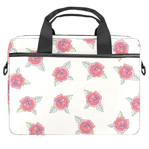 13-14.5 Inch Laptop Sleeve Case Ivory Rose Pattern Protective Cover Bag Portable Computer Notebook Carrying Case Briefcase Message Bag