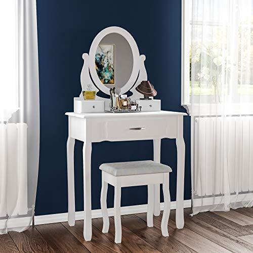 Home Discount nishano Schminktisch mit Hocker 3Schublade Oval Verstellbarer Spiegel Schlafzimmer Set Make-up Cosmetics Kommode Möbel, weiß