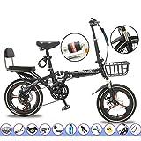 YSHCA 20 Pouces Vélo Pliant, 7 Vitesses Cadre en Acier au Carbone Pliable vélos par Porte Bagages Siège Réglables et Garde Boue,Black-B