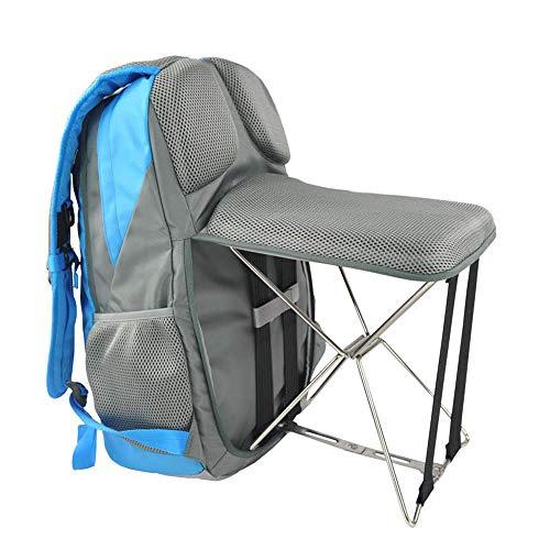 TRF Rucksack Hocker Combo, Multifunktions-Rucksack mit Stuhl - 47L große Kapazitäts-Bottom Lederpolster Bequeme Rücken - für Outdoor Angeln Strand Barbecue,Blau