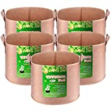 VIVOSUN 5-Pack 5 Gallons Heavy Duty Thickened Nonwoven Fabric Pots Grow Bags with Strap Ha...