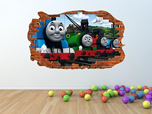 Thomas & Friends pw121 - Adhesivo decorativo para pared (100 x 60 cm), diseño de Thomas & Friends