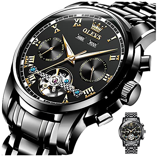 Fashion Black Dial Automatic Men's Watch,Skeleton Tourbillon Self-Winding Mechanical Watches for Man,Stainless Steel Waterproof Male Wrist Watch With Luminous Day-Date Without Battery,Reloje de Hombre
