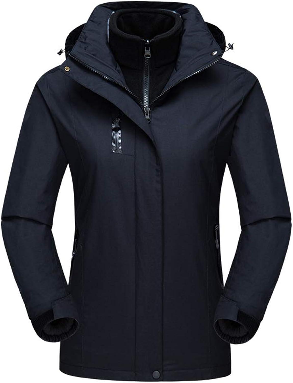 Insun Women's Warm Solid color Outdoor Waterproof 3in1 Hooded Jacket Raincoat