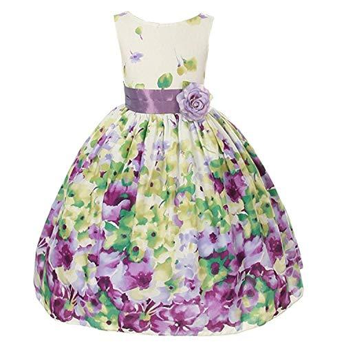 Kid's Dream Little Girls Lavender Flower Print Sash Easter Dress 2T