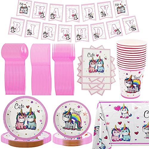 CYSJ 90 Piezas Vajilla Desechable Cumpleaños Unicornio de Platos Desechables Biodegradables Pancarta,Platos, Vasos, Vajilla, Servilletas y Mantel Decoraciones de Fiesta para Niños