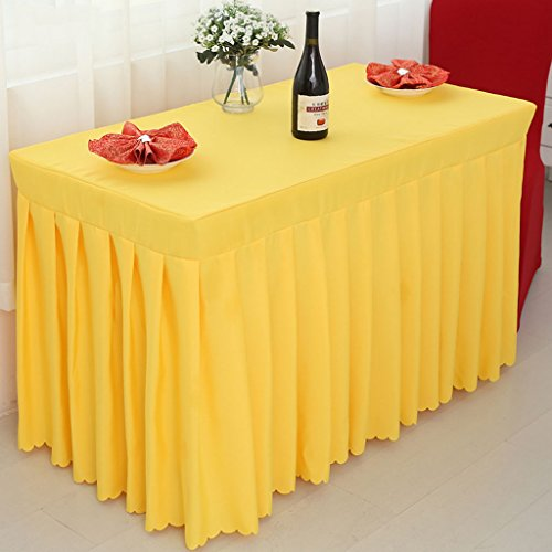 Nappes Fitted Table Skirt Cover Wedding Banquet With Top Topper Nappe-Jaune ( Couleur : Le jaune , taille : 40*120*75CM )