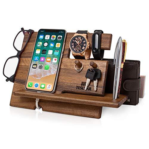 Halterung für Handys aus Holz Walnussholz Schlüsselhaken Ständer für Uhren Organizer für Herren Geschenk für Ehemann Jahrestag Vater Geburtstag Nachttisch Geldbörse Walnussholz mit Haken