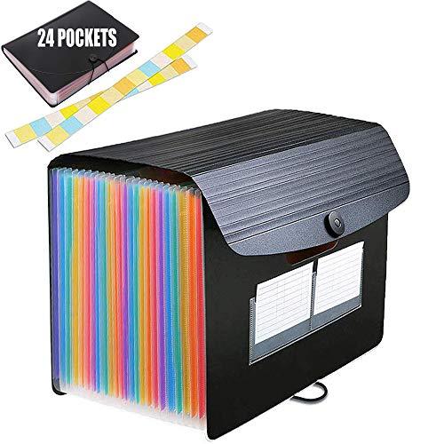 24 Taschen/Dokumentenmappe A4 Fächermappe Veranstalter Datei Organizer mit Gummizug und Verschlußknopf Veranstalter Ordner für Zuhause oder Büro Dokumente Papiere (A)