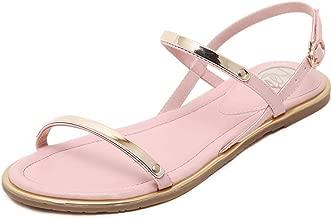 Women flat sandals Women summer gold sandals with buckle strap sandals