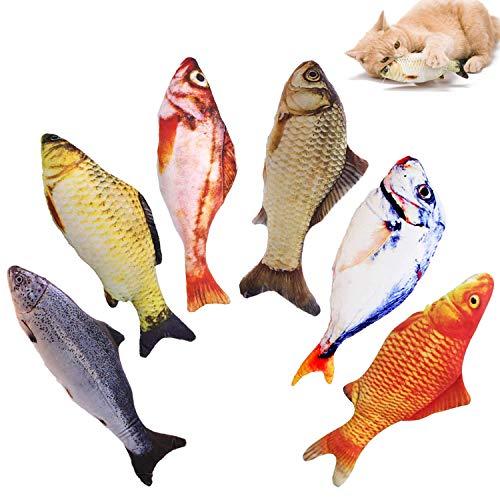 WELLXUNK® Spielzeug mit Katzenminze, 6 Stück Katze Interaktives Spielzeug Katze Fisch Spielzeug Plüsch Katze Kauen Spielzeug Set für Katze/Kitty/Kätzchen