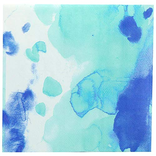 Lillian Collection Luncheon Printed Napkins Watercolor Blue Pack of 20, 13 x 13 x 1