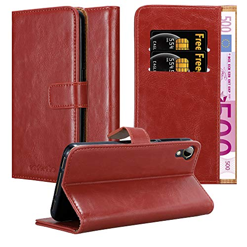 Cadorabo Hülle für HTC Desire 10 Lifestyle/Desire 825 - Hülle in Wein ROT – Handyhülle im Luxury Design mit Kartenfach & Standfunktion - Case Cover Schutzhülle Etui Tasche Book