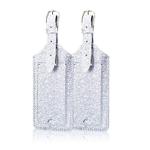 [2 Pack] Luggage Tags, ACdream Leather Case Luggage Bag Tags Travel Tags, Silver Glitter
