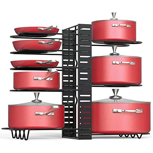 Gaoyu Pan Organizer Rack for Cabinet Pot Rack with 3 Diy Methods Adjustable Pot and Pan Organizer with 8 Tiers Pot Lid Organizer Holder Metal Heavy Duty Pot Organizer for Kitchen Counter and Cabinet